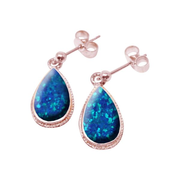 Rose Gold Opalite Cobalt Blue Drop Earrings