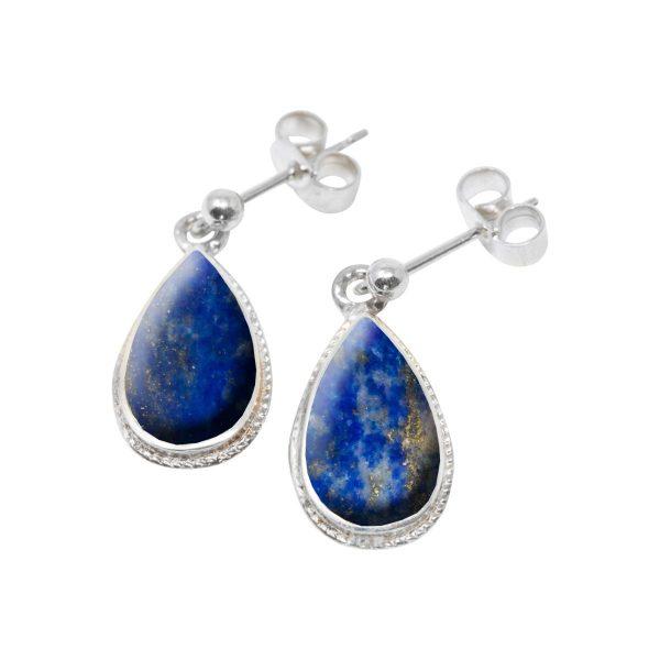 Silver Lapis Drop Earrings