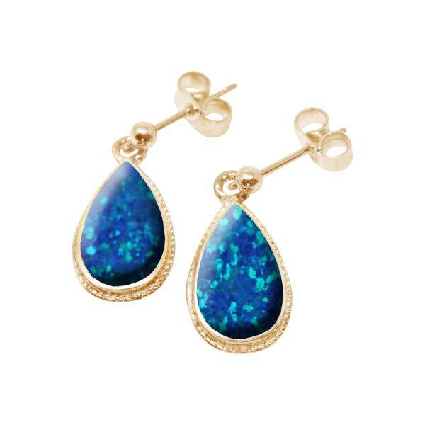 Gold Opalite Cobalt Blue Drop Earrings