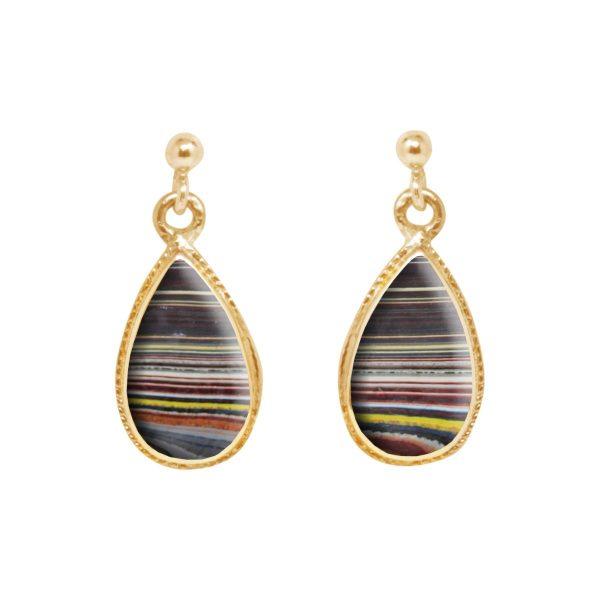 Gold Fordite Drop Earrings