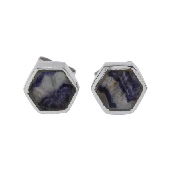 Silver Blue John Hexagonal Stud Earrings
