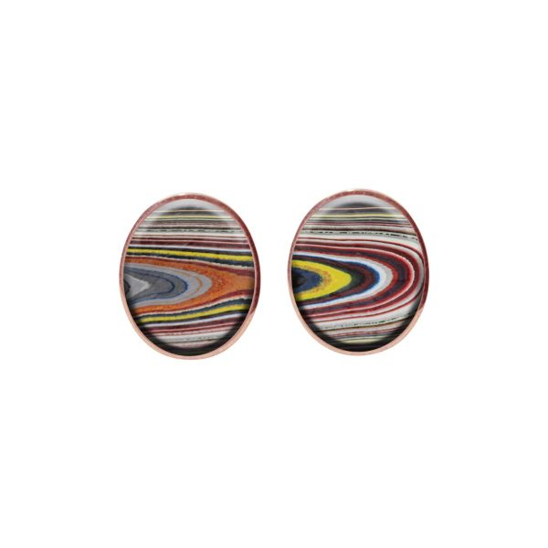 Rose Gold Fordite Oval Stud Earrings