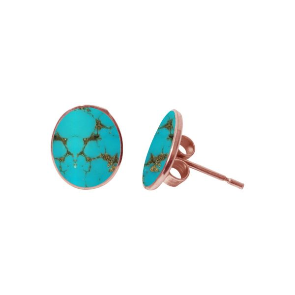 Rose Gold Turquoise Oval Stud Earrings