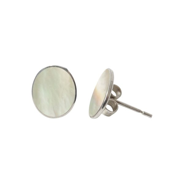 Silver Mother of Pearl Oval Stud Earrings