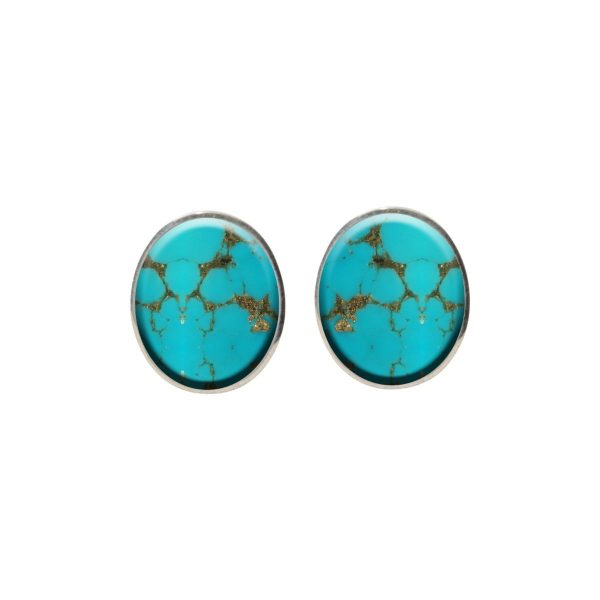 Silver Turquoise Oval Stud Earrings