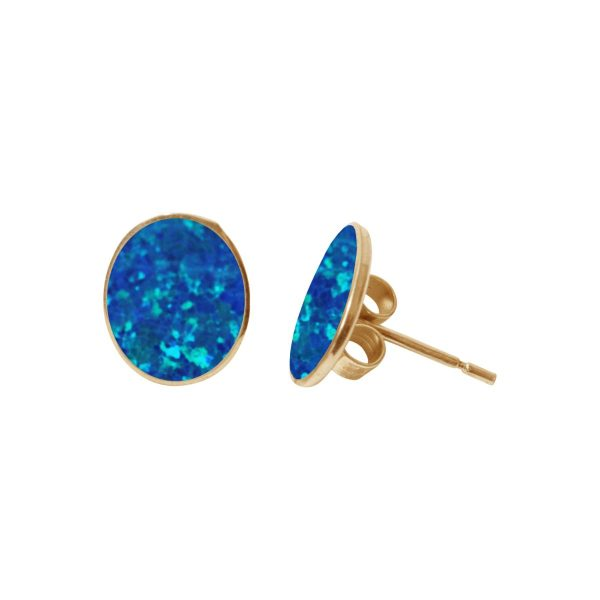 Yellow Gold Cobalt Blue Oval Stud Earrings