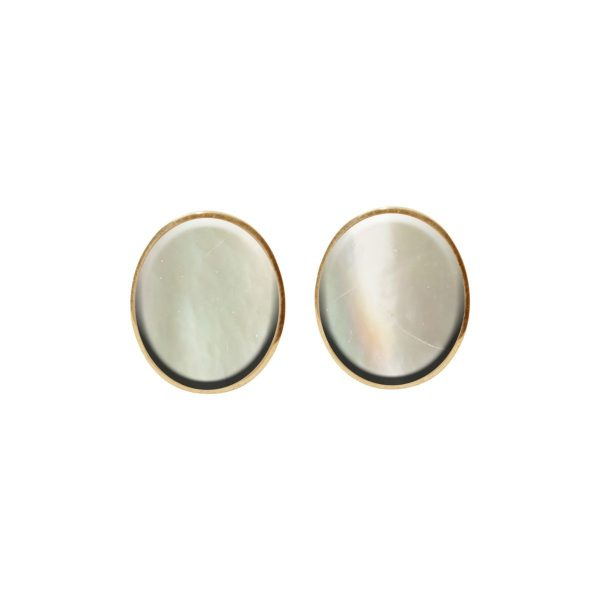 Gold Mother of Pearl Oval Stud Earrings
