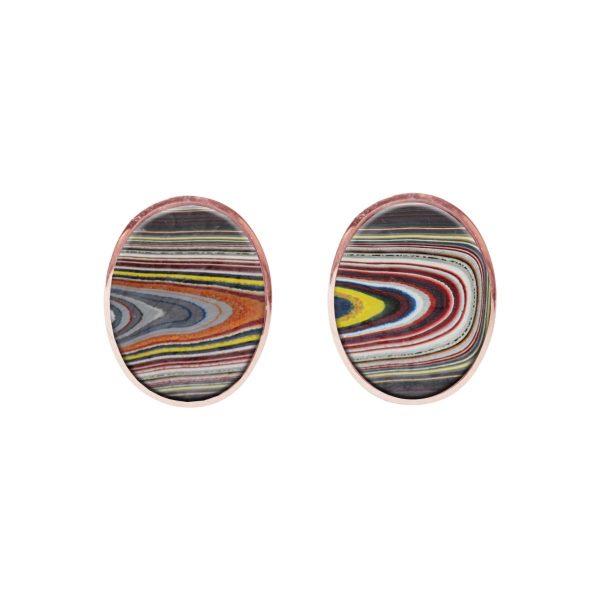 Rose Gold Fordite Oval Stud Earrings