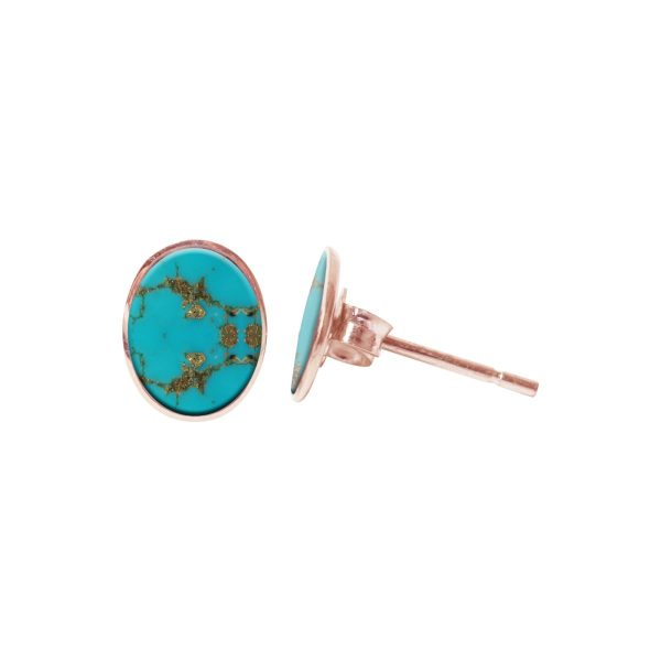 Rose Gold Oval Turquoise Stud Earrings