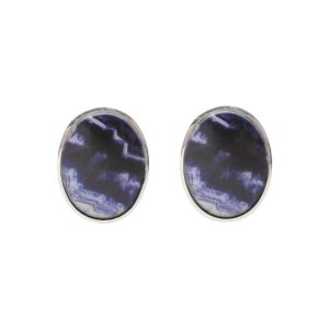 Silver Blue John Oval Stone Stud Earrings