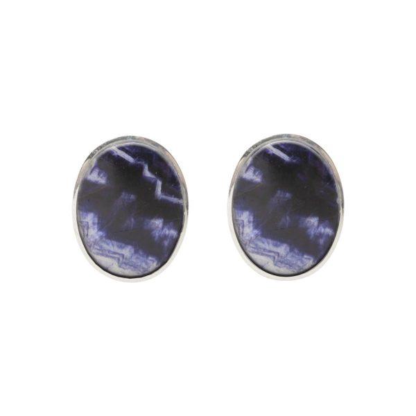 Silver Blue John Oval Stone Stud Earrings