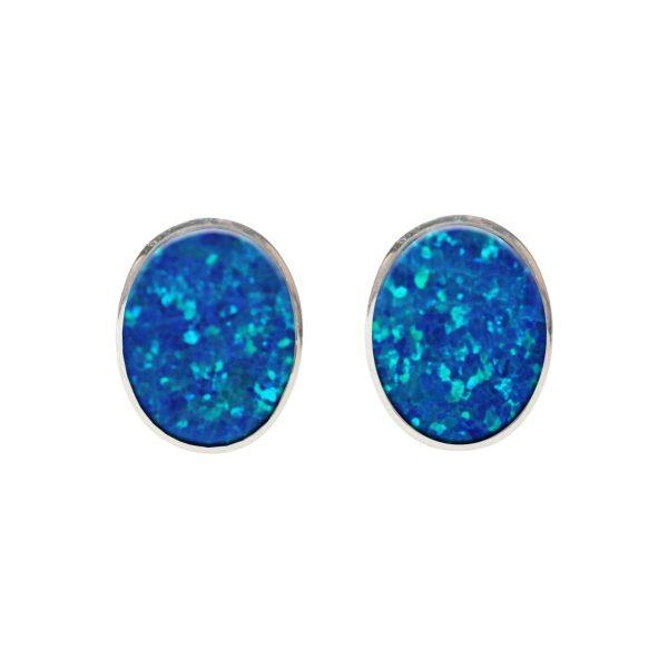 Silver Cobalt Blue Opalite Stud Earrings
