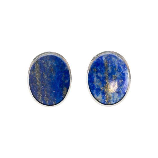 Silver Lapis Oval Stud Earrings