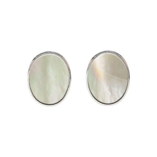 Silver Mother of Pearl Oval Stud Earrings