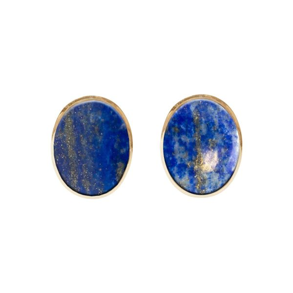 Yellow Gold Lapis Oval Stud Earrings