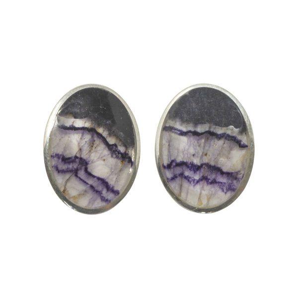 Silver Blue John Oval Clip Earrings