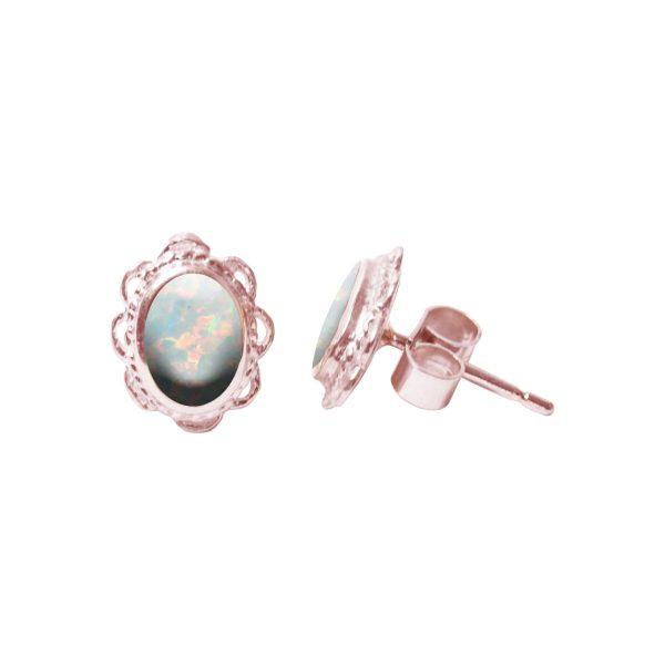 Rose Gold Opalite Sun Ice Oval Stud Earrings