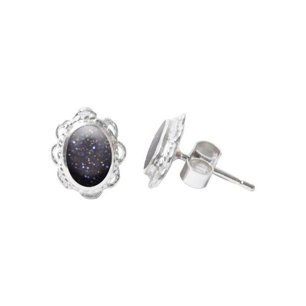 Silver Oval Blue Goldstone Stud Earrings