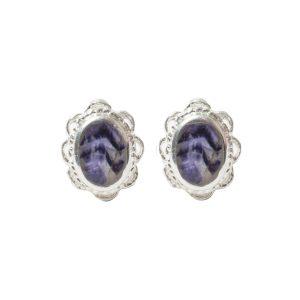 Silver Oval Blue John Stone Frill Edge Stud Earrings