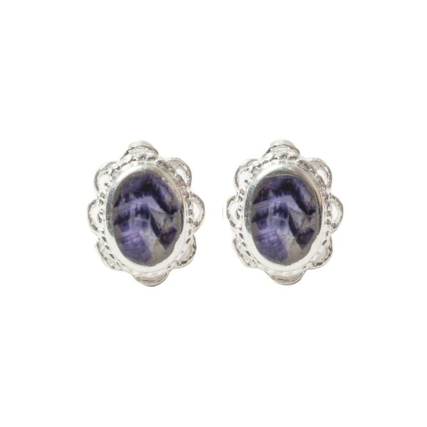 Silver Oval Blue John Stone Frill Edge Stud Earrings