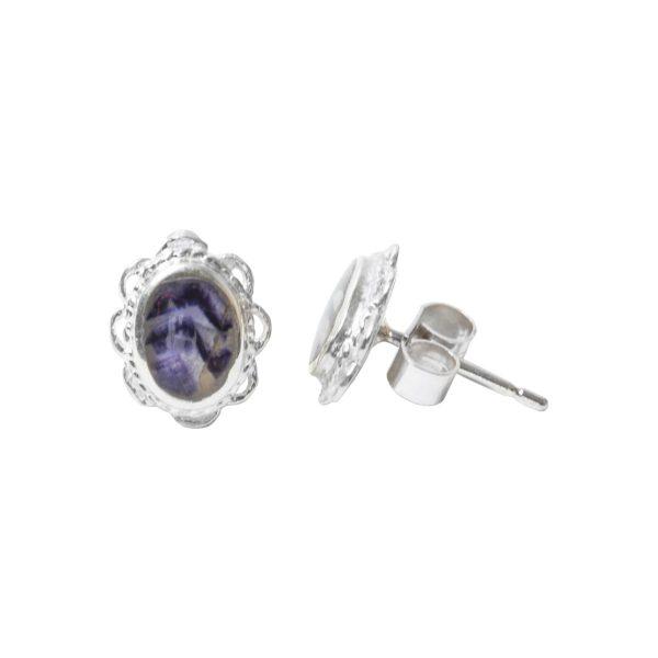 Silver Blue John Oval Stud Earrings