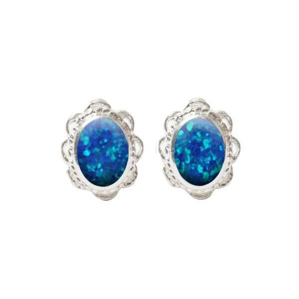 Silver Cobalt Blue Opalite Oval Stud Earrings