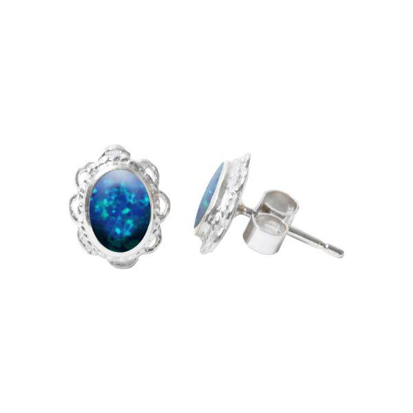 Silver Oval Cobalt Blue Opalite Stud Earrings