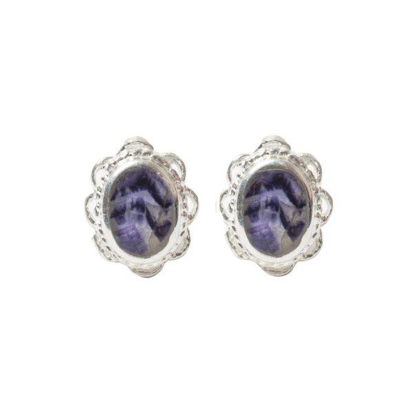 White Gold Blue John Oval Stud Earrings