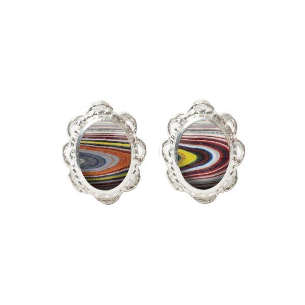 White Gold Fordite Oval Stud Earrings