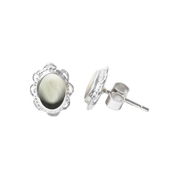 White Gold Mother of Pearl Oval Stud Earrings