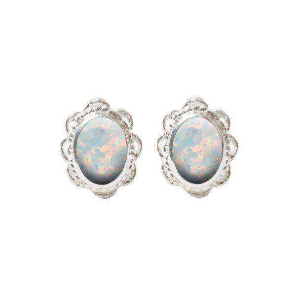 White Gold Opalite Sun Ice Oval Stud Earrings