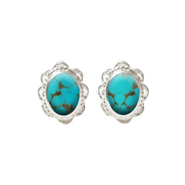 White Gold Turquoise Oval Stud Earrings