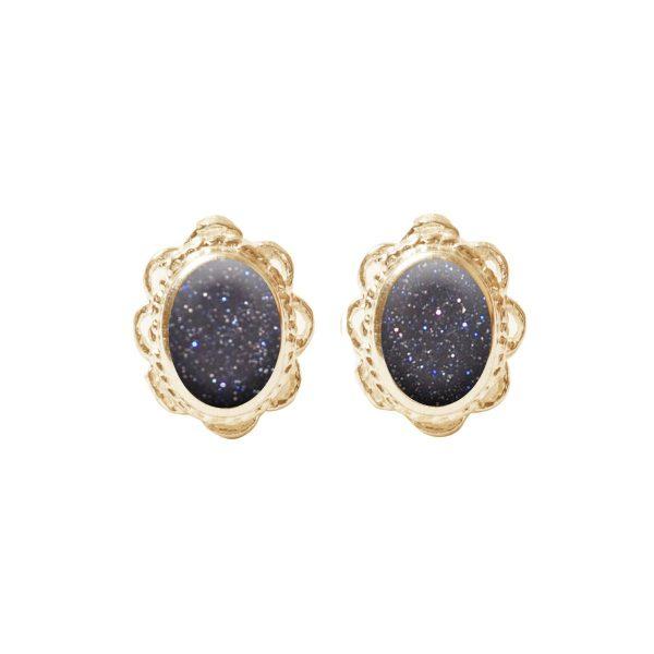 Yellow Gold Blue Goldstone Oval Stud Earrings