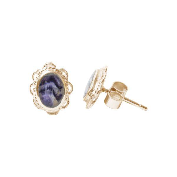 Gold Blue John Oval Stud Earrings