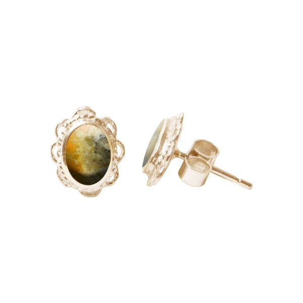 Yellow Gold Bumblebee Jasper Oval Stud Earrings