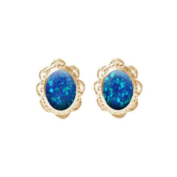 Gold Cobalt Blue Oval Stud Earrings