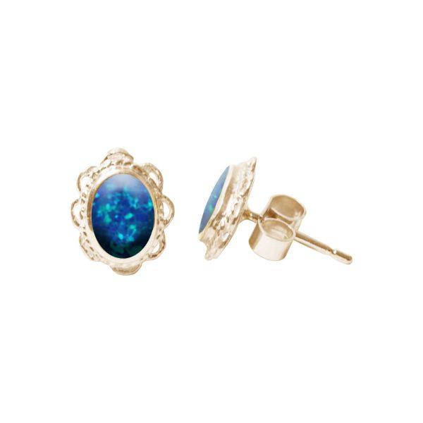 Gold Cobalt Blue Opalite Oval Studs