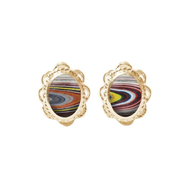 Gold Fordite Oval studs