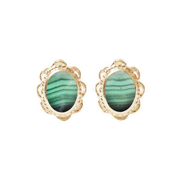 Gold Malachite Oval Stud Earrings