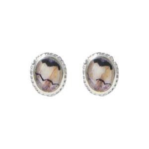 Silver Blue John Oval Bead Edge Stud Earrings