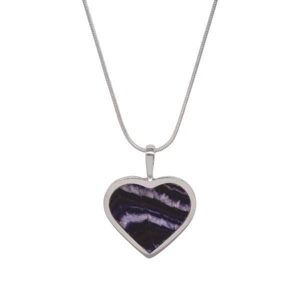 Silver Blue John Heart Shaped Pendant