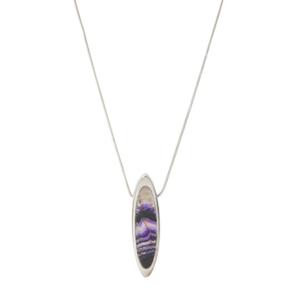 Silver Elongated Oval Pendant