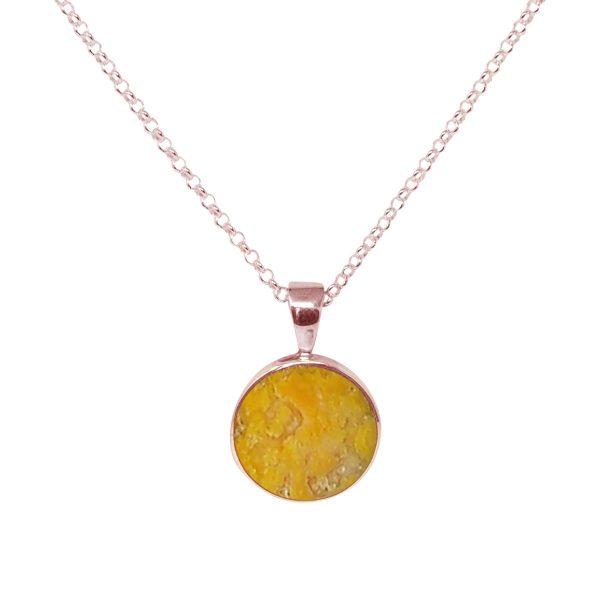 Rose Gold Bumblebee Jasper Round Pendant