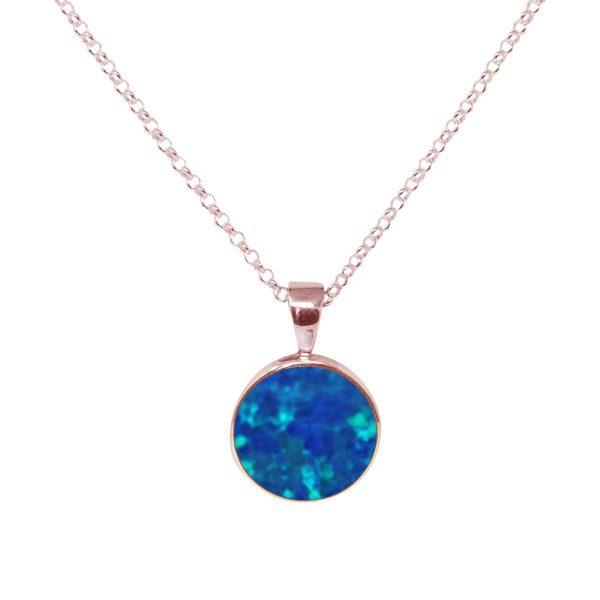 Rose Gold Opalite Cobalt Blue Round Pendant