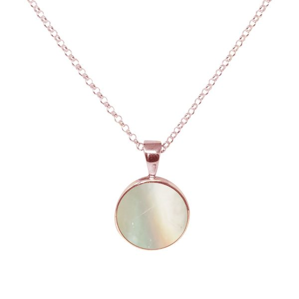 Rose Gold Mother of Pearl Round Pendant