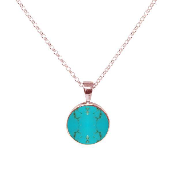 Rose Gold Turquoise Round Pendant
