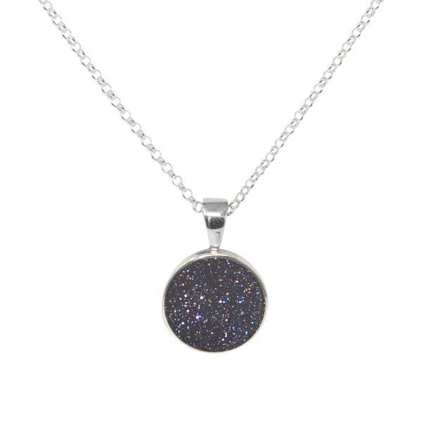Silver Blue Goldstone Round Pendant