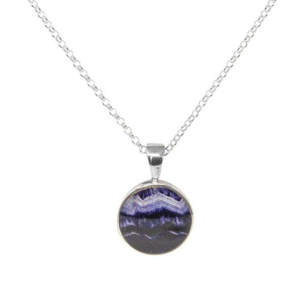 Silver Blue John Round Pendant