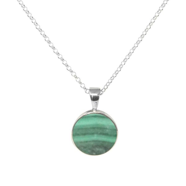 Silver Malachite Round Pendant
