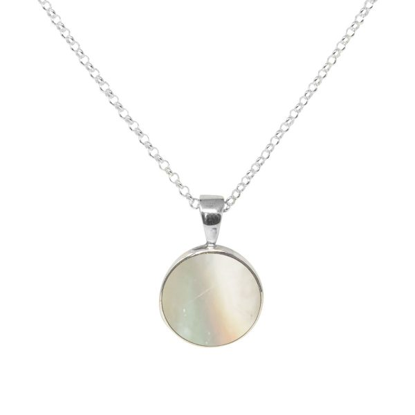Silver Mother of Pearl Round Pendant